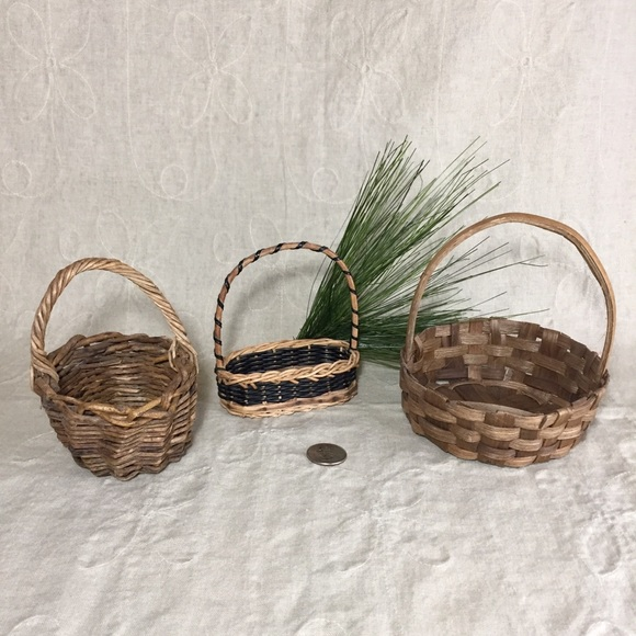 Set Of 3 Small Baskets In Various Materials